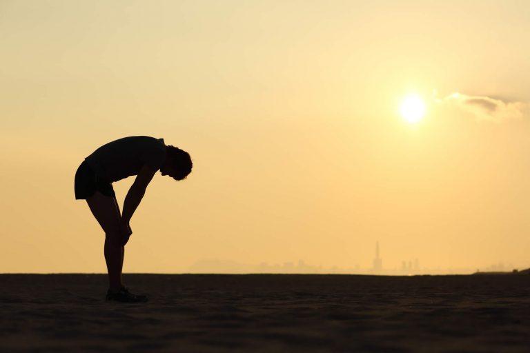 Runner taking a break from training