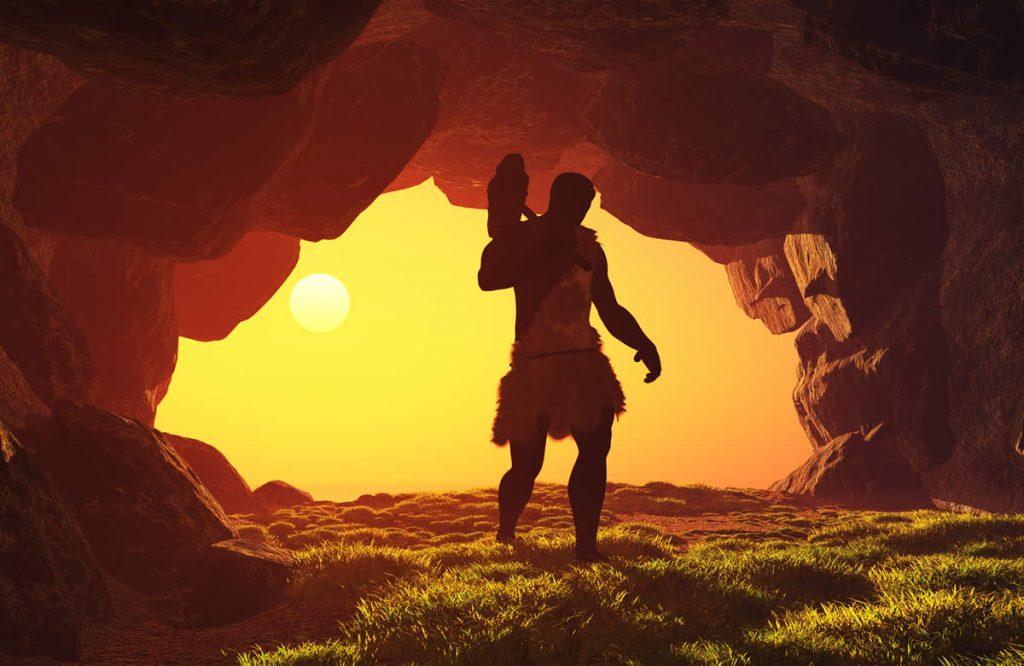 Caveman in cave
