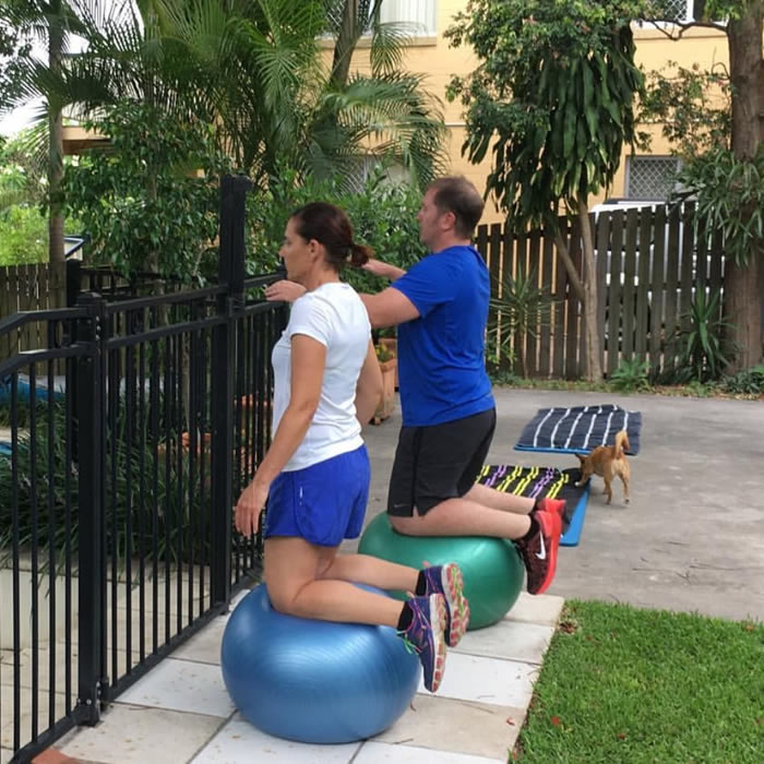 Couple exercising